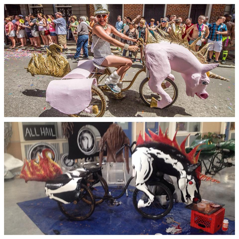 Parade bike by the Krewe of Kolossos and artist Katrina Brees