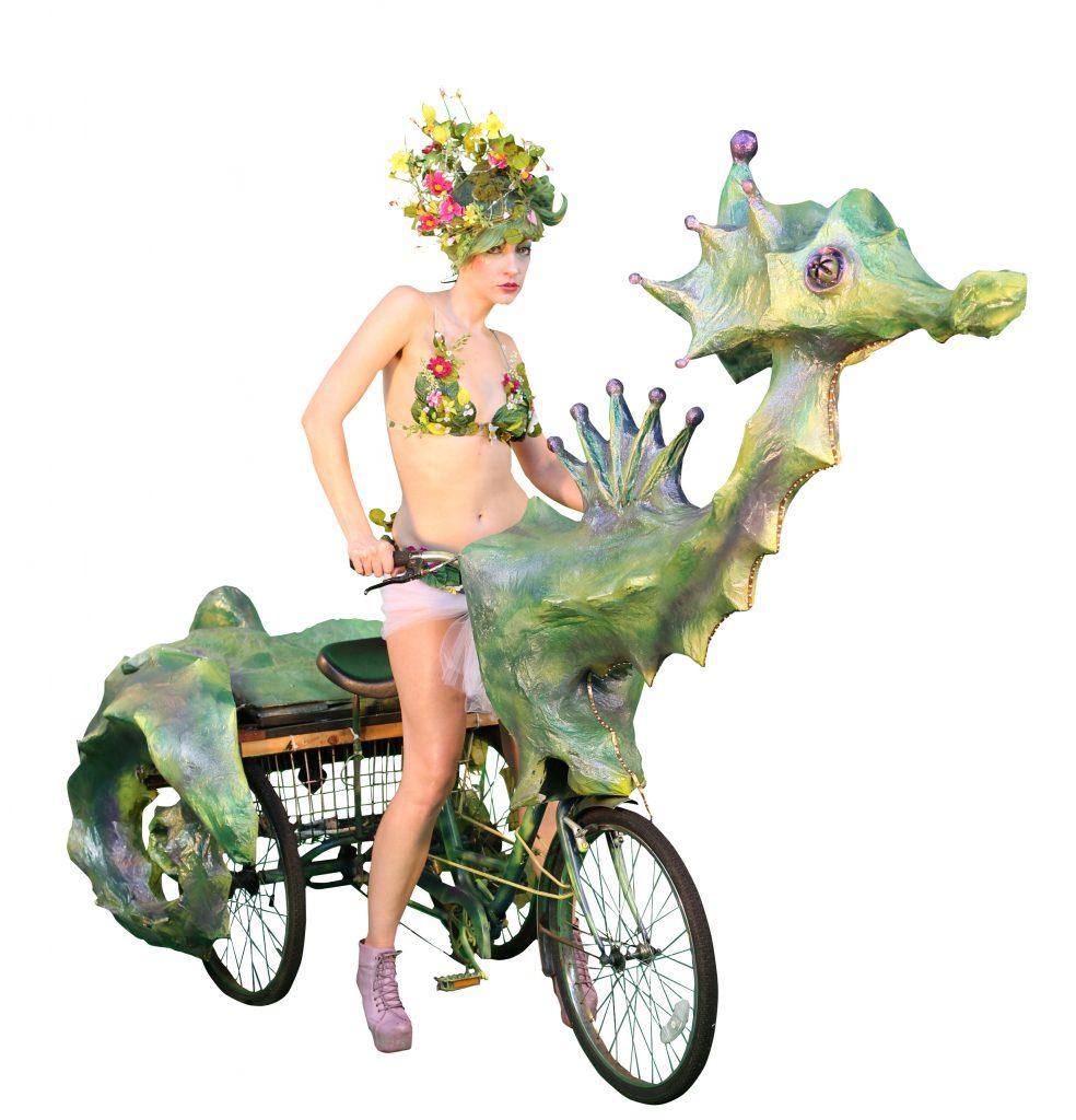 Seahorse art bike by the Krewe of Kolossos
