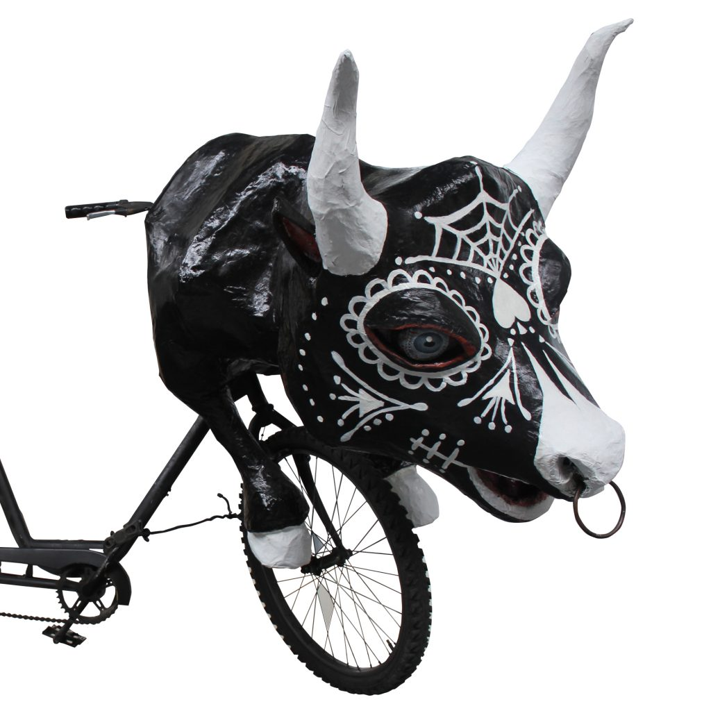 Bull art bike by Krewe of Kolossos artist Katrina Brees made for Mardi Gras parades in New Orleans