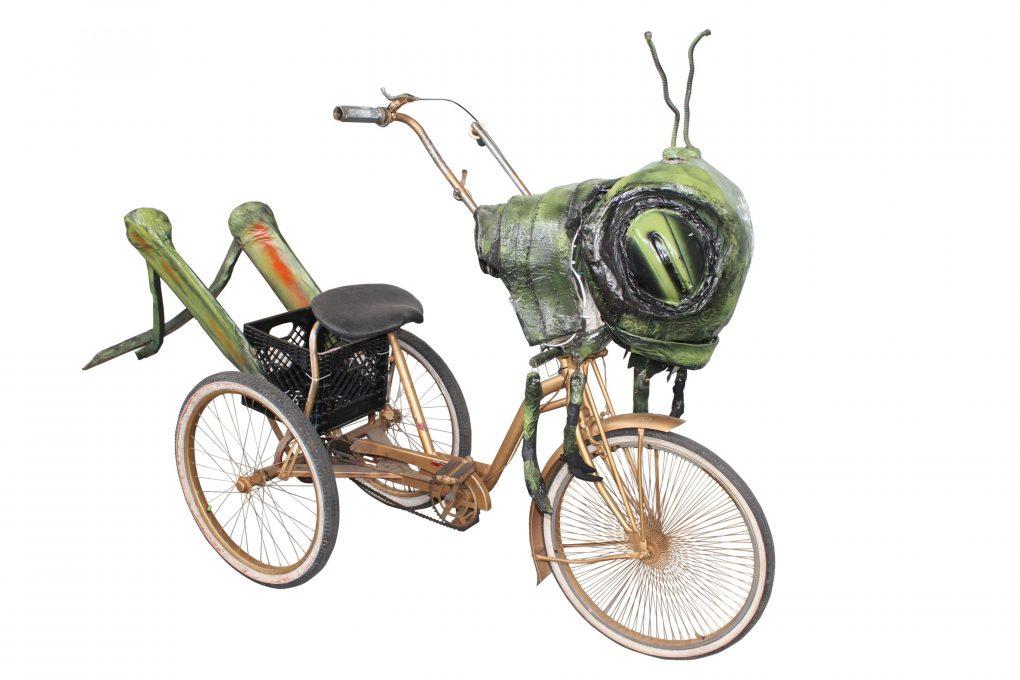 Grasshopper paper mache art bike by artist Katrina Brees and the Krewe of Kolossos