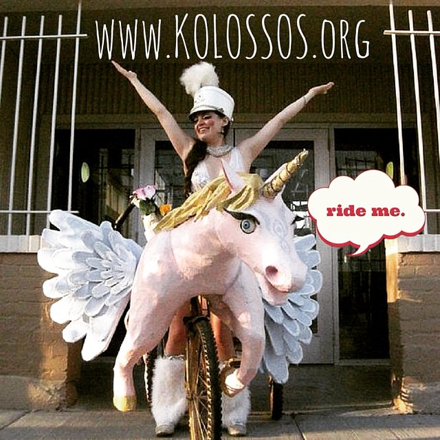 #ride #bike #kolossos #katrinabrees #nola #louisianalife #art #artist #artbike #mardigras #parade #papiermache #unicorn #pegasus