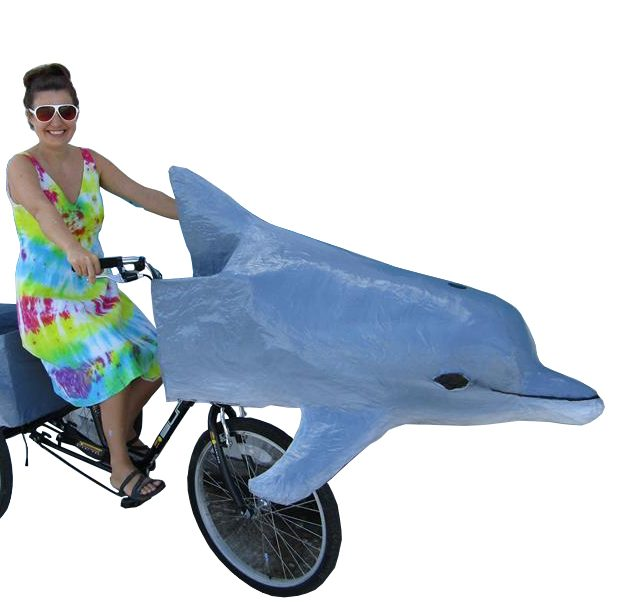 Dolphin art bike with artist Katrina Brees