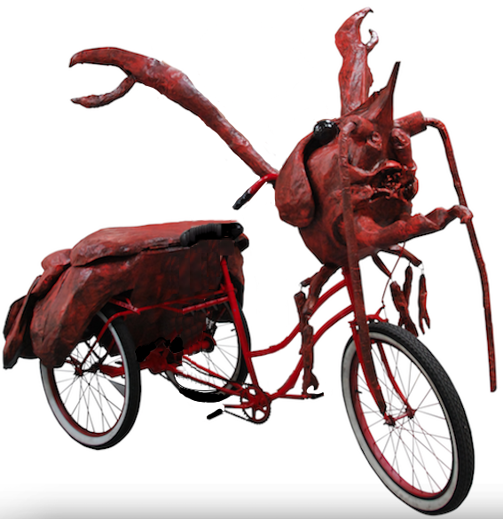 Crawfish art bike by the Krewe of Kolossos created for Mardi Gras parades in New Orleans